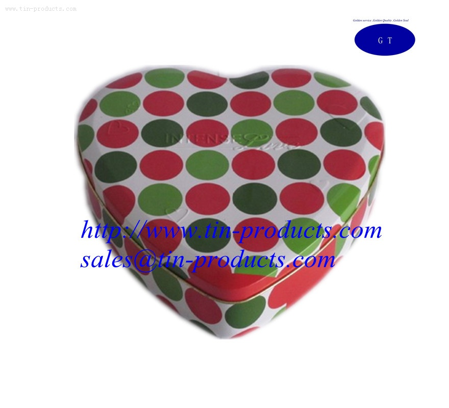 Heart-Shaped Tin Boxes with Lovely  packaging Box