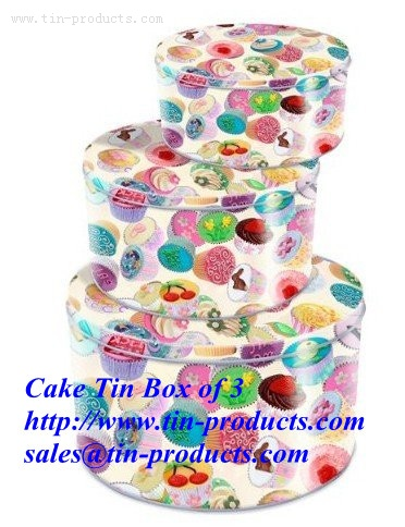 Wholesale Blank Cake Gift Tin Of 3 Box from China