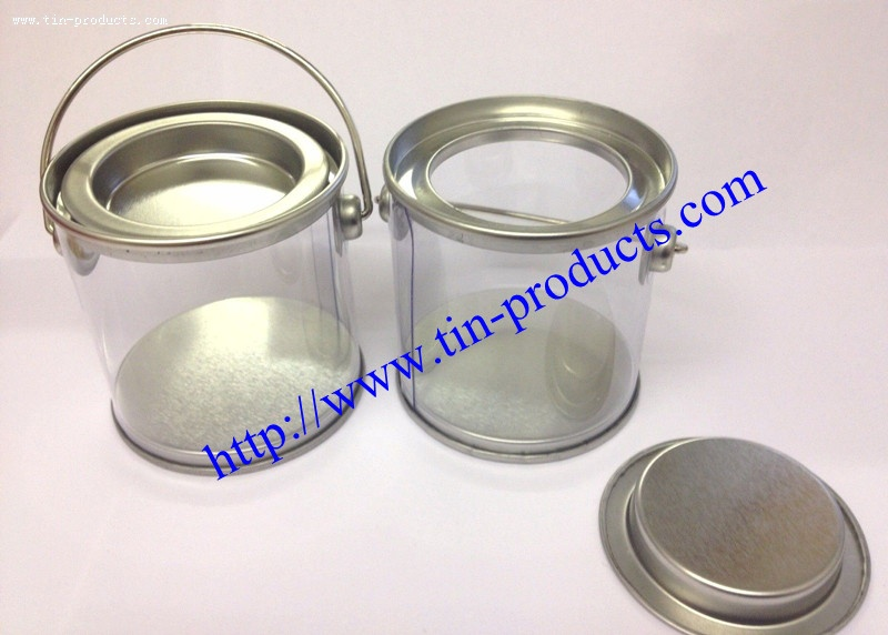 Round Clear Sided PET Packaging With Tin Lid