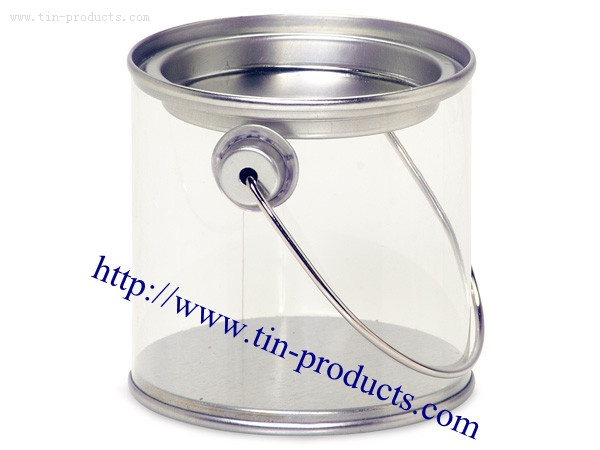 Clear PET Pails with tin lids and handles