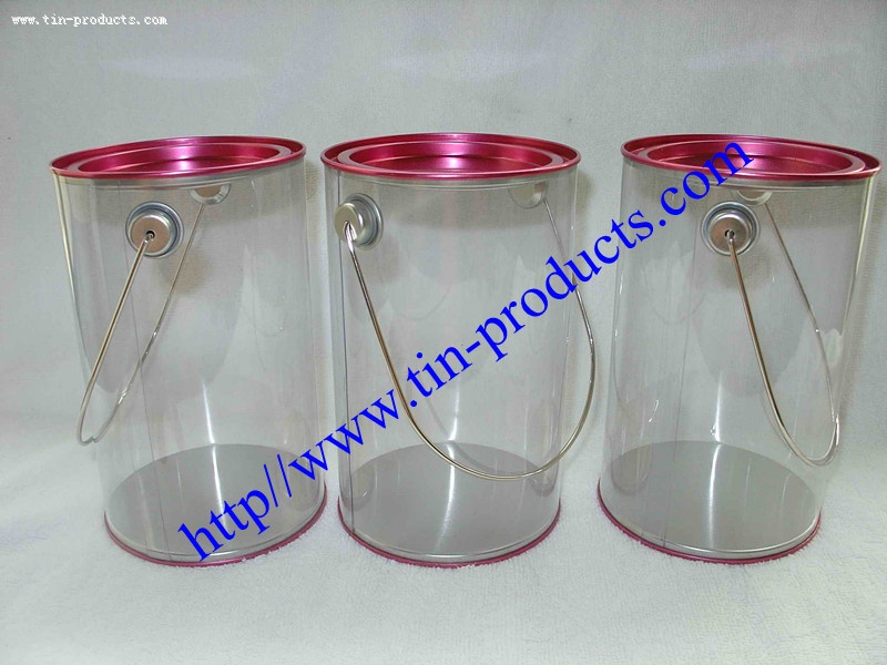 PET/PVC Bucket with Metal Handle for Candy